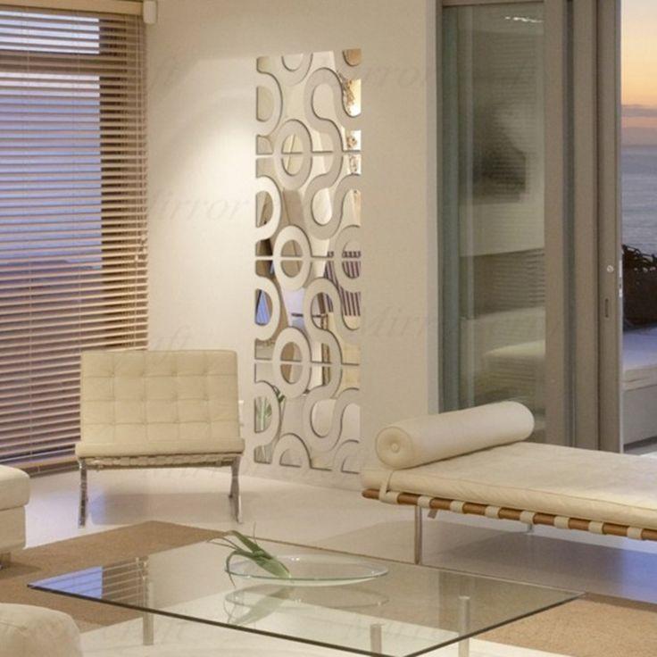 4 lote/conjunto 3d acrílico espelhado adesivos decorativos espelho adesivos de parede DIY decoração vara parede espelho decoração