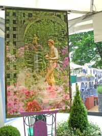 New York Social Diary Page 1 June 4 - Holly Alderman's Garden Glamour banner by Nan Quick designs pictured at Saint-Gaudens National Historic Site literally stopped traffic when displayed at the Chelsea Flower Show exhibit in London