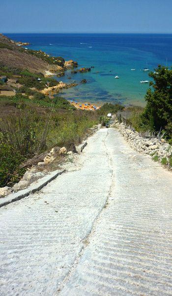 San Blas Bay, down a steep hill, Gozo