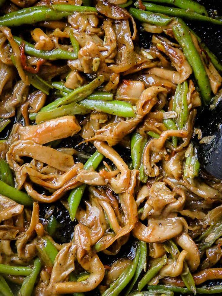 Oyster Mushroom and green bean stir-fry-islandsmile.org