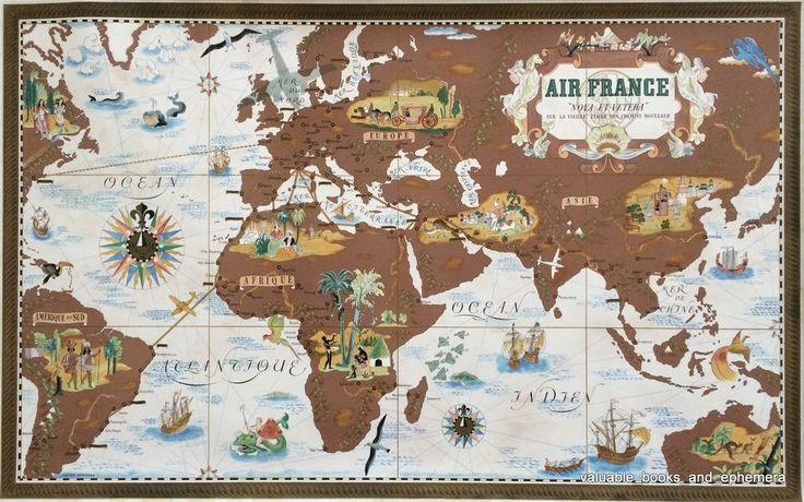 original air france travel poster 39 38 lucien boucher planisphere vintage airline. Black Bedroom Furniture Sets. Home Design Ideas