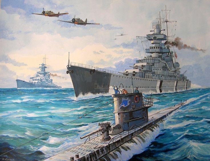 Crucero Prinz Eugen 1940 escoltado por un submarino del Tipo VIIC y al fondo el acorazado Gneisenau 1938, Alemania
