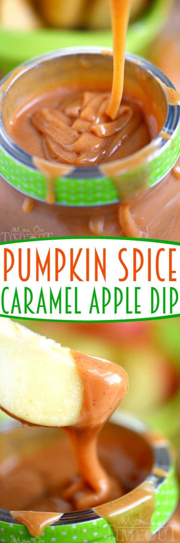 This easy Pumpkin Spice Caramel Apple Dip is sure to be the star at your next party! So easy to make and just bursting with fall flavor! Great for a fruit dip or as an ice cream topping! // Mom On Timeout