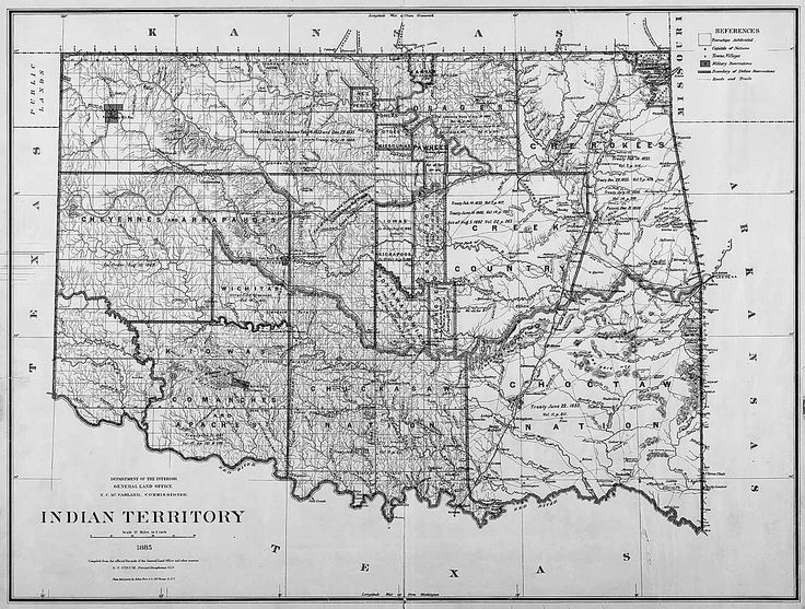 Map of Indian Territory (Oklahoma), 1885-Dawes Act Primary Document