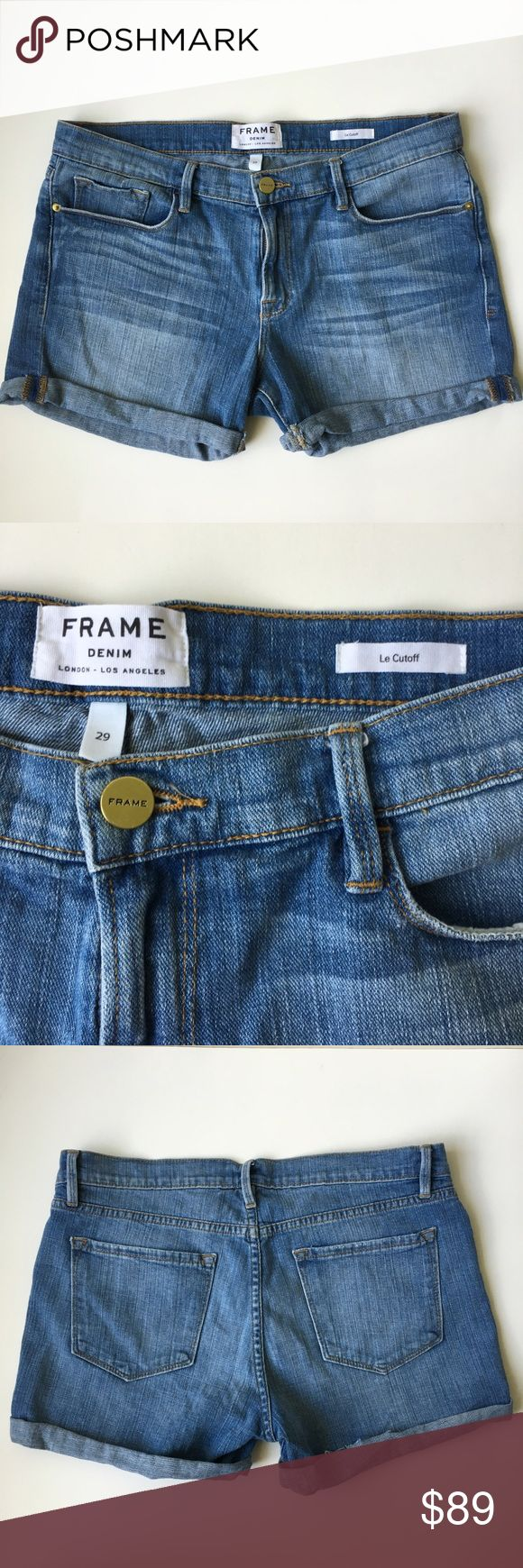 """Frame Denim Le Cut Off Cuffed Short Sooo sad to have to sell these  but I lost some weight and they are too big; my loss, your gain! Gorgeous, FRAME Denim """"Le Cutoff"""" (Church Street) cuffed blue shorts--the perfect pair of jean shorts! So beautiful. Excellent condition; see the last pic for a close up of fraying on the raw edge of the right cuff, but as you can see it's not an issue when wearing & rolled. True to sz 29. stretchy, soft denim material--so comfortable! Fantastic quality, high…"""