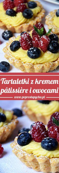 Tartaletki z kremem pâtissière i owocami są naprawdę pyszne! Ciężko poprzestać na jednej więc sięgasz po następną… 🙂 Kruche ciasto, przeeeepyszny krem budyniowy z przepisu słynnej Julii Child plus świeże owoce- połączenie idealne!  #poprostupycha #tartaletki #przepis #owoce