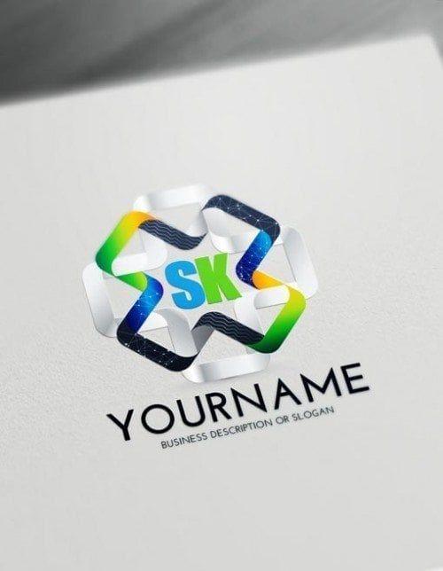 Free 3D Logo Maker - Modern 3D Connections Logo Creator #Letterlogo