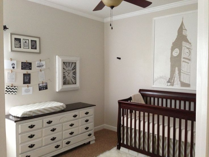 neutral nursery, England theme, big ben, Changing table, dresser, refinished chalk paint dresser