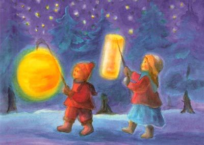 "The traditional way of celebrating Martinmas is with lantern walks or processions, accompanied by singing.  St. Martin recognized the divine spark in the poor man of Amiens, and gave it the protection of his own cloak.  When we make a paper lantern, we, too, may feel that we are giving protection to our own little ""flame"" that was beginning to shine at Michaelmas, so that we may carry it safely through the dark world.  It may only be a small and fragile light- but every light brings relief…"