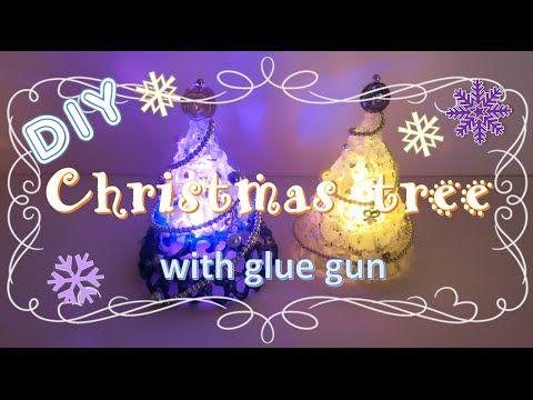 【100均グルーガンDIY】まるでガラス細工!きらきら☆かわいいクリスマスツリーの作り方 ~ How to make a mini christmas tree with glue gun ~ - YouTube