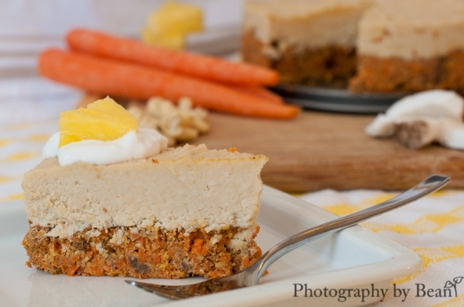 """Tropical Carrot Cake with Coconut Cheesecake""""Icing"""" - Raw & Vegan"""