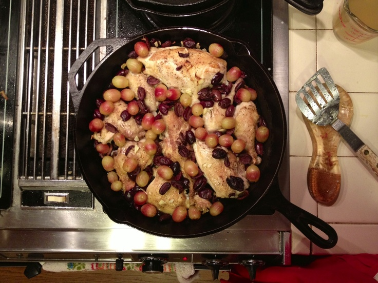 made harvest roasted chicken with grapes, olives, and rosemary ...