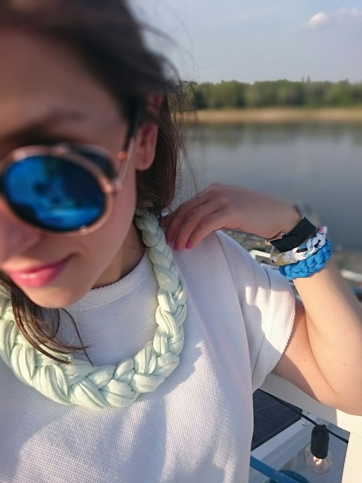 Hand made cotton jewelry - pepper mint necklace & colorful sailor brancelets