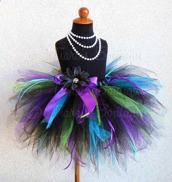 Birthday Tutu Black Blue Purple Green Custom Sewn by TiarasTutus