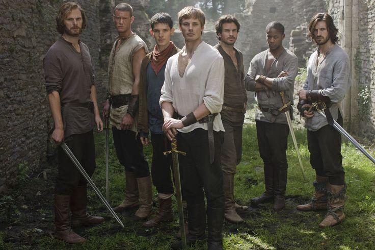 Leon, Percival, Merlin, Arthur, Lancelot, Elyan and Gawaine in the BBC TV series Merlin