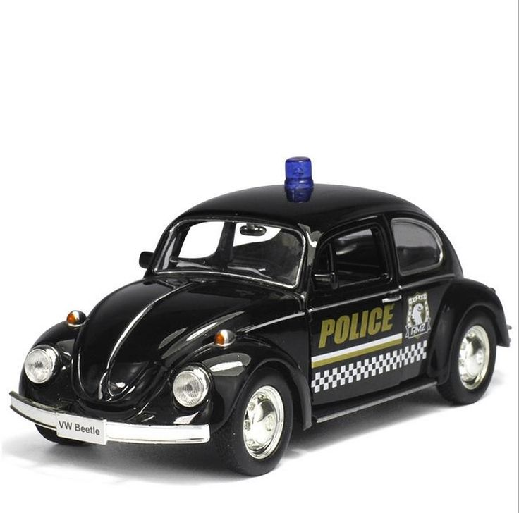 1/36 Black 1976 Volkswagen Beetle SUV Car Models Alloy Plastic Police Car Models Pull Back Gifts Collections Displays