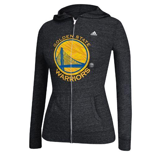 Golden State Warriors adidas Women's Pattern Logo Full Zip Hooded Tee - Black