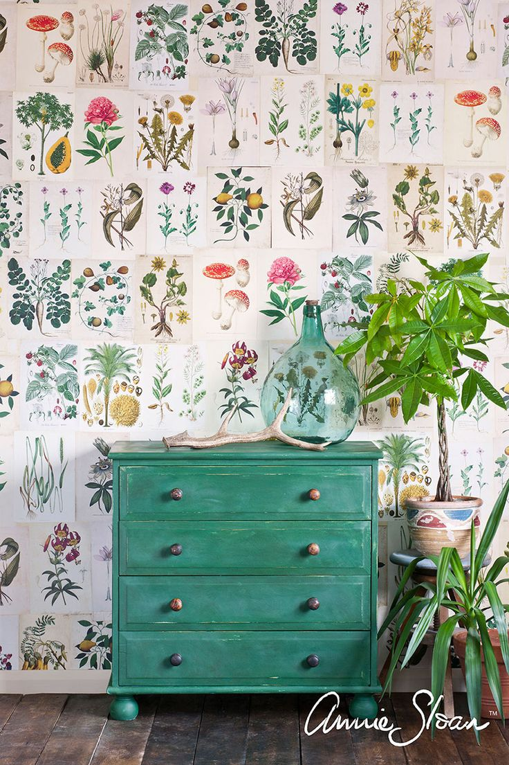 Chest of drawers painted in Amsterdam Green from the Annie Sloan Palette. The paint was distressed back lightly and sealed with Clear Chalk Paint® Wax.
