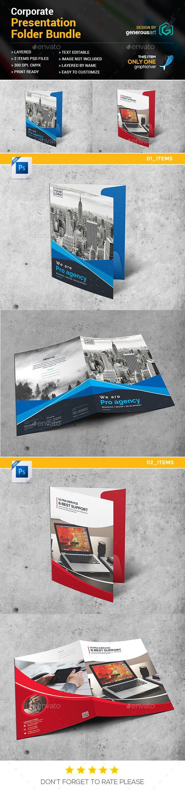 #Presentation Folder Bundle 2 in 1 - #Stationery #Print Templates Download here:  https://graphicriver.net/item/presentation-folder-bundle-2-in-1/20014935?ref=alena994