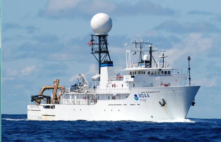 Okeanos Explorer, deep ocean research. Geology, Marine Biology. Lab onboard.