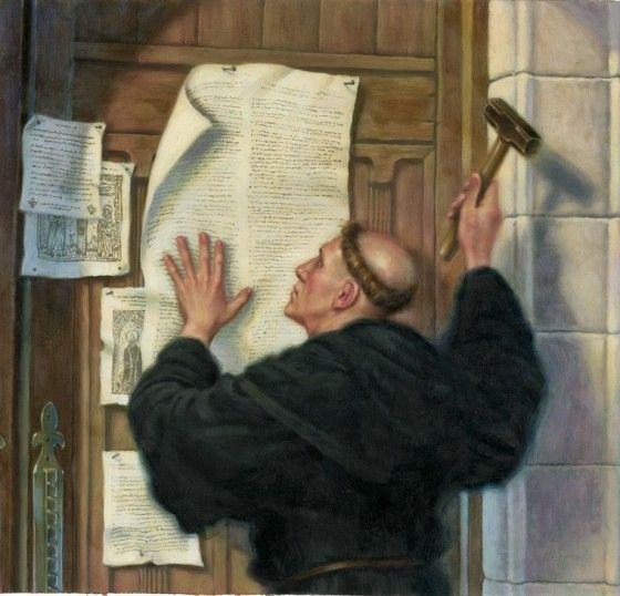 On October 31, 1517. Martin Luther, a 33-year-old theology professor at Wittenberg University walked over to the Castle Church in Wittenberg and nailed a paper of 95 theses to the door, hoping to spark an academic discussion about their contents. It became a key event in igniting the Reformation.