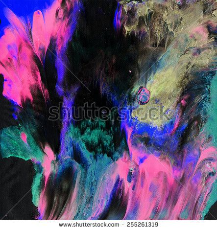 Abstract art - hand painted canvas background - mixed analog and digital techniques