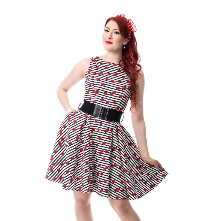 Sweetie jurk met kersen print wit/zwart/rood - Vintage rockabilly