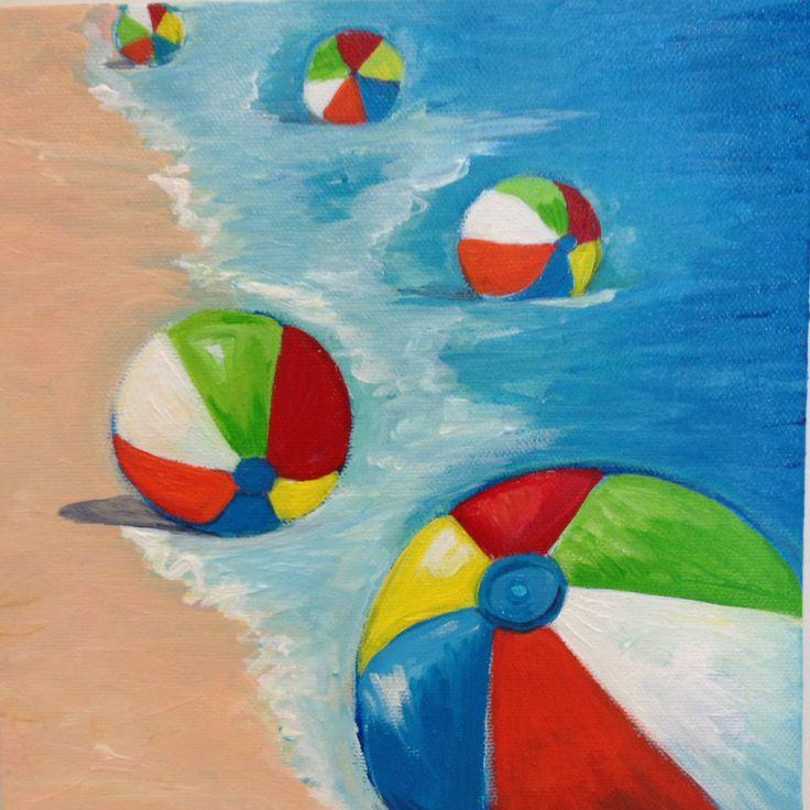 Beach Balls Acrylic Painting By Kristine Gottsch Size 8 Quot X 8