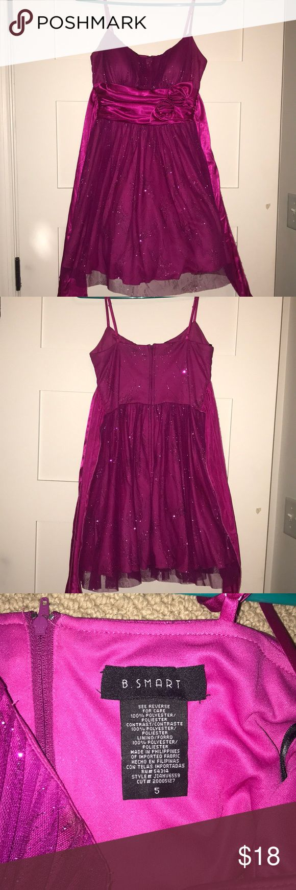 Short Sparkly Pink Dress Zip Up Back Tie Around The Waist Sparkly Pink Pattern 3 Layers Of Fabric Spaghetti Straps Only Worn Once B. Smart Dresses Mini