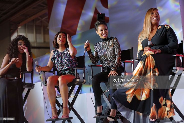 Tiffany Haddish, Regina Hall, Jada Pinkett Smith and Queen Latifah from the movie Girls Trip speak during the Essence Music Festival at the Ernest N. Morial Convention Center on July 1, 2017 in New Orleans, Louisiana.