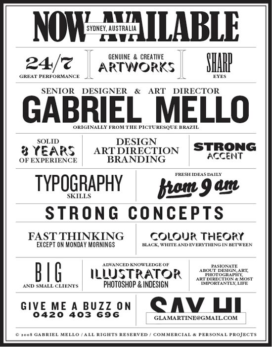 Gabriel Mello's Resume. 20 Innovative Resume Examples. #resume #design #inspiration
