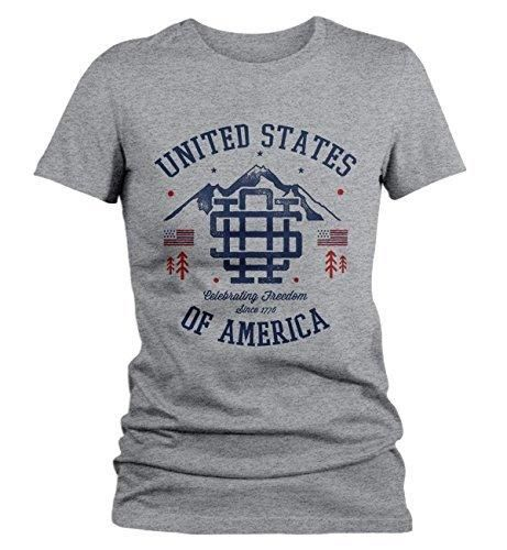Shirts By Sarah Women's Vintage United States T-Shirt Patriotic America 4th July Shirt 3