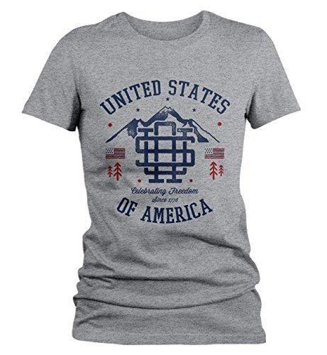 Shirts By Sarah Women's Vintage United States T-Shirt Patriotic America 4th July Shirt 1