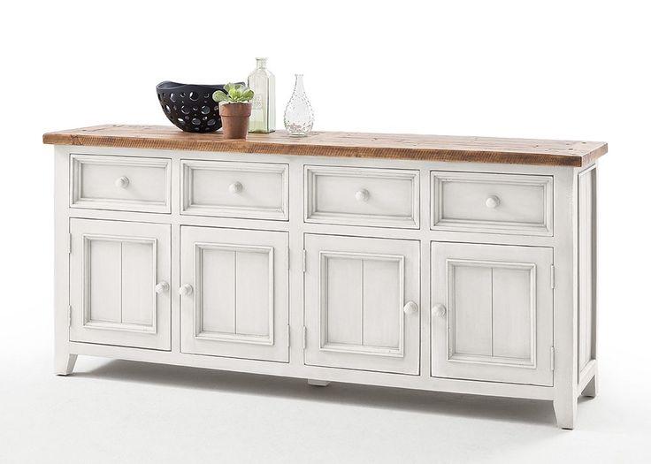 Sideboard Landhausstil Byron Massivholz Weiß 20591. Buy now at https://www.moebel-wohnbar.de/sideboard-landhausstil-byron-massivholz-weiss-20591