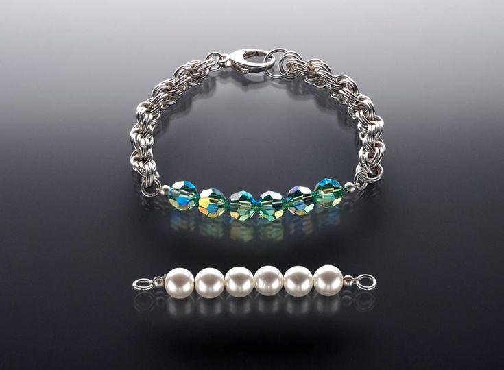 Bellissima idea di bracciale intercambiabile. Fate la parte da sostituire con degli Swarovski 5000 sfaccettati i anche con le perle sempre Swarovski...geniale