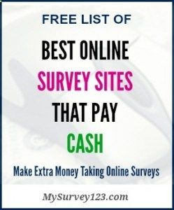 This is a list of best online survey sites that pay you money (CASH via Paypal, check or Prepaid visa cards) for taking market research surveys online! They are all legitiamte, reliable and absolutely free to join! mysurvey123.com/...