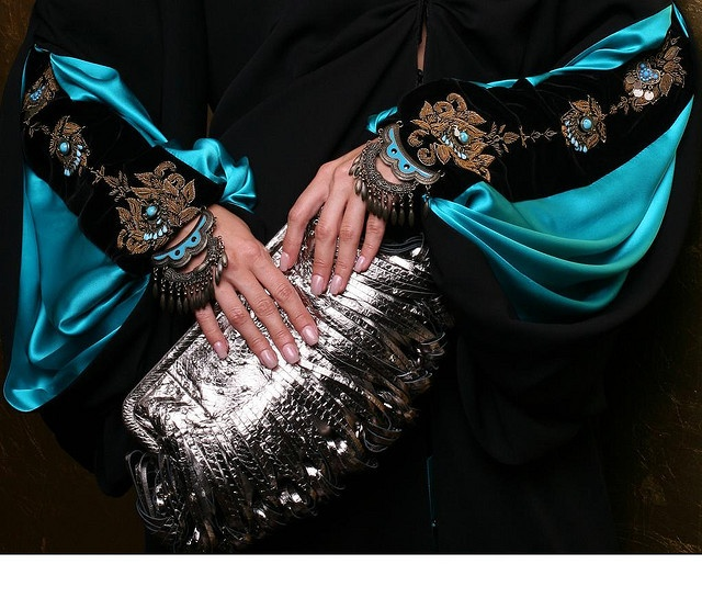 Nice sleeve details, thinking of this as being the clothing style of the main character's mother since she's pretty elaborate (From Noblesse Oblige Qatar, this is their Gypsy Abaya)