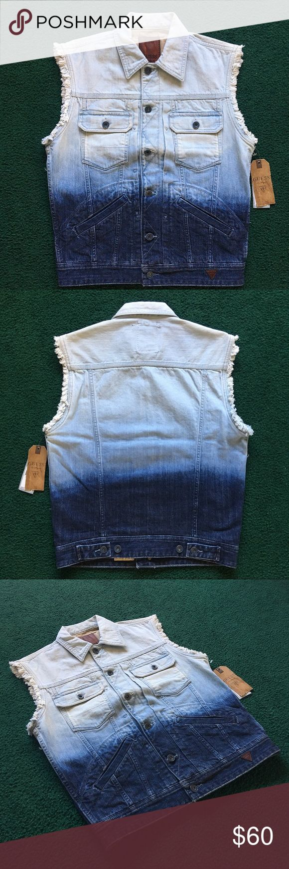 Guess Ombré Denim Vest Raw Sleeves Blue Jeans SZ S Very cute and on trend Guess denim vest! Faux vintage looking and ombre design. Garment is in perfect condition and with NWT. Please offer or ask any questions! Guess Jackets & Coats Vests