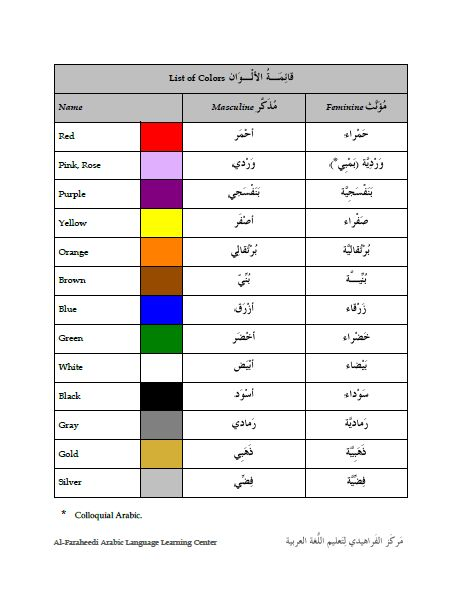 List of Colors in Arabic