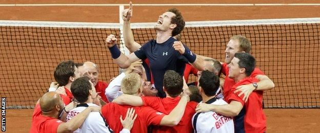 Andy Murray and the Great Britain team celebrate
