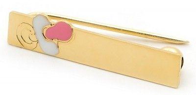 Pink Dummy Gold & Enamel Brooch $124.95 at the Greek Wedding Shop ~ http://www.greekweddingshop.com/
