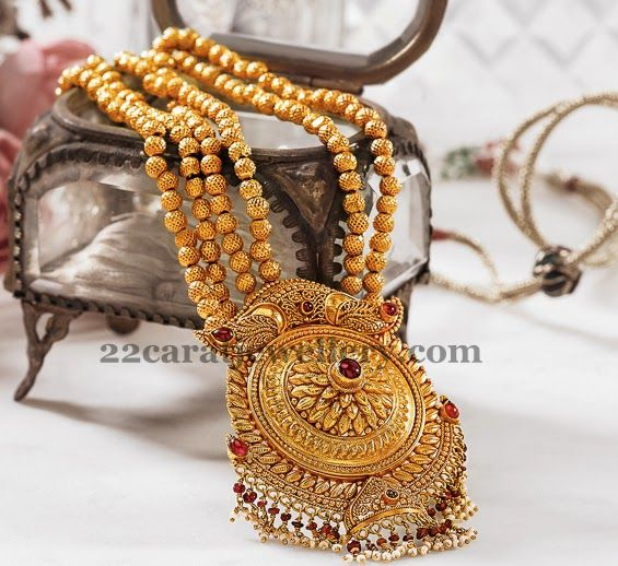Jewellery Designs: 4 Strings Gold Balls Antique Chain