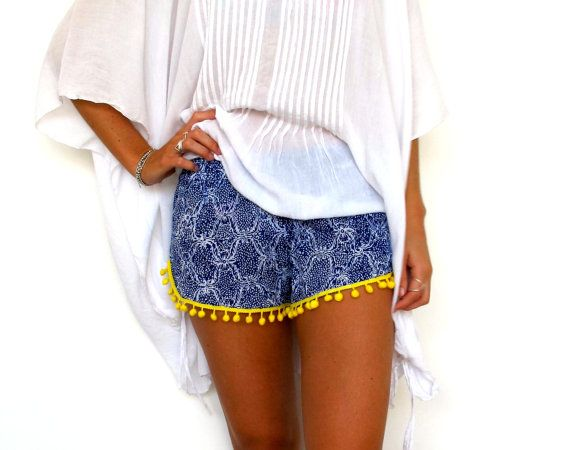Pom Pom Shorts, Cobalt Blue Snake Print with Bright Yellow or White Cotton Pom Pom's - 70's inspired gym shorts on Etsy, $29.00