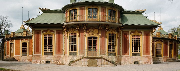 The Chinese Pavilion in the park of the royal palace at Drottningholm [on the outskirts of Stockholm.] King Adolf Fredrik surprised Queen Lovisa Ulrika on her birthday in 1753 with a small Chinese pleasure palace. . . The original wooden building was replaced in the 1760s by a more permanent one, which today contains one of the finest European rococo interiors with chinoiserie.
