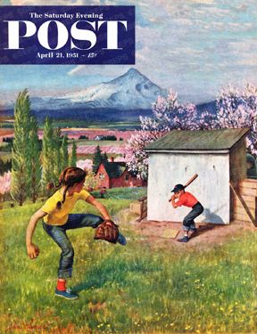 Children playing baseball in Oregon orchard