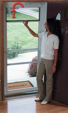 LARSON revolutionized the storm door market when we invented the Screen Away® retractable screen and balanced window system. With just one hand, the screen discreetly disappears into a hidden cassette at the top of the door. Screen Away® models are available in fullview, midview, and highview styles. Ventilation is a breeze with Screen Away®. #LARSONdoors #StormDoors