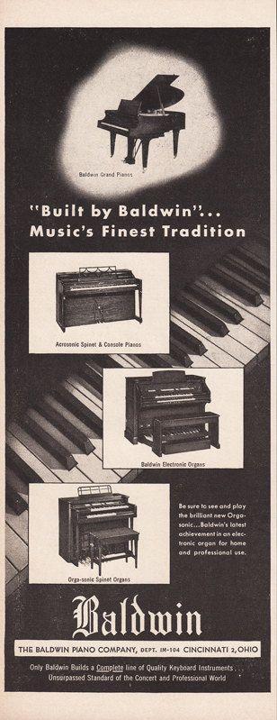 1954 BALDWIN PIANO Music Advertisement Grand Pianos by phorgotten
