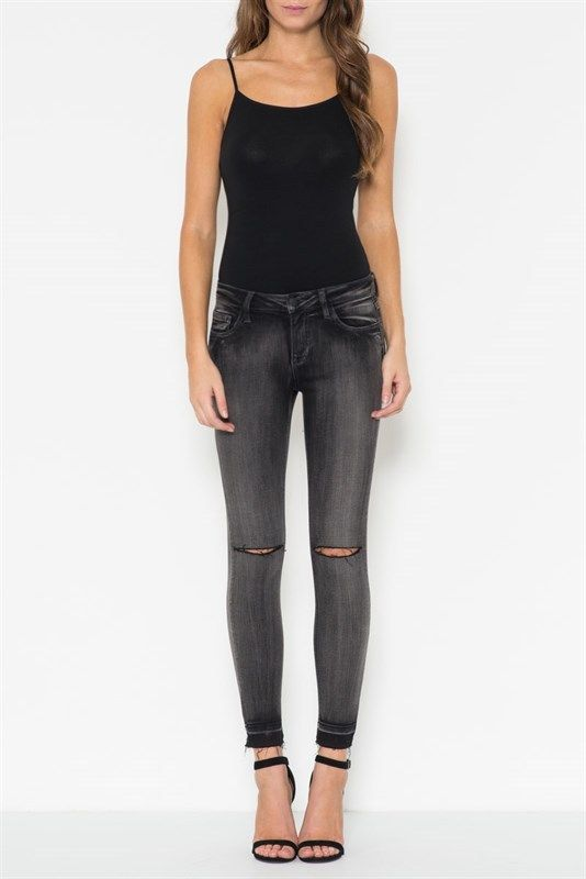 Mid-rise ankle skinny with a released hem and a single knee cut gives this jean that most-wanted vintage look. The soft faded charcoal grey is easy to match with anything. $84.99  #denim #boyfriendjean #girlfriendjean #distressed #skinny #zumelandco