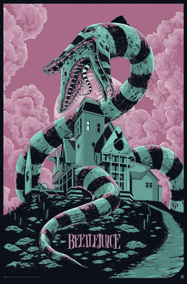 "Beetlejuice Movie Poster by Ken Taylor. - Another example of a Beetlejuice poster. This one is got a mix of ligher and darker colors which i think suits the movie well as there is quite abit of humor in it. The ""sand worm"" wrapped around the house is a good representation of the two worlds coming together."