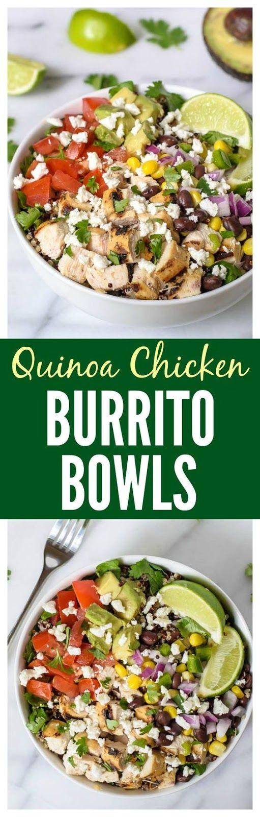 Chipotle Burrito Bowls with Chicken, Quinoa, and Avocado | Food And Cake Recipes